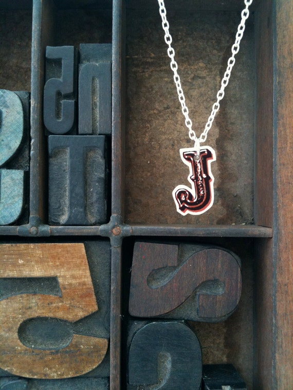 Vintage Style Initial Necklace (all letters in stock) - Just My Type