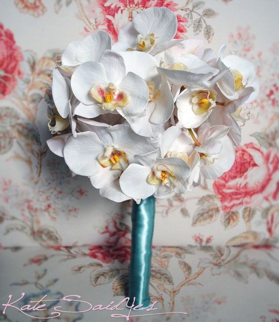 Orchid Wedding Bouquet White Orchid and Tiffany Blue Real Touch Bouquet