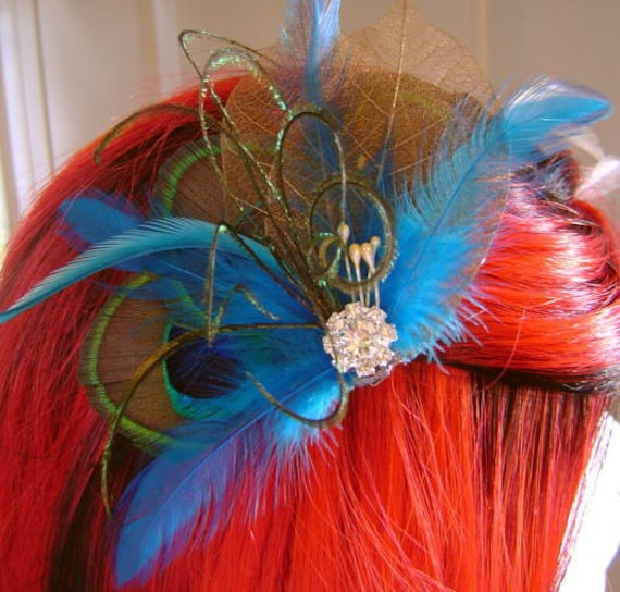 DENISE Jeweled Bridal Peacock Feather in Malibu Blue and Copper Skeleton