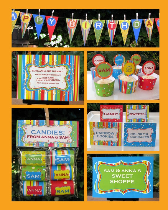 Sweet Shoppe Party Printable - Complete Birthday Party Pack w/ Invitation plus more, EDITABLE PDF file - personalize at home w/ Adobe Reader