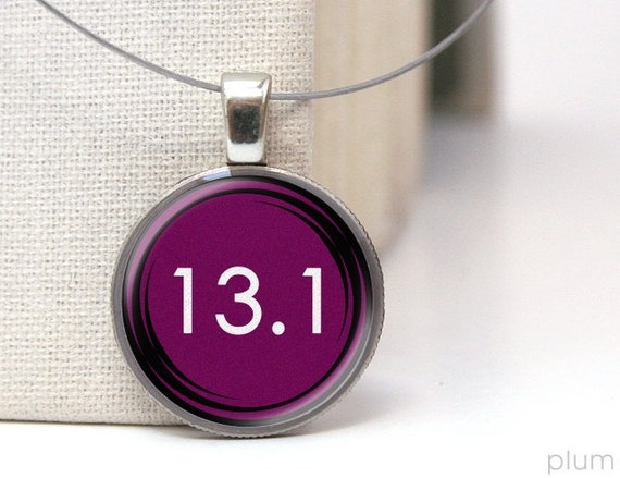 plum 13.1 running necklace on repurposed dime