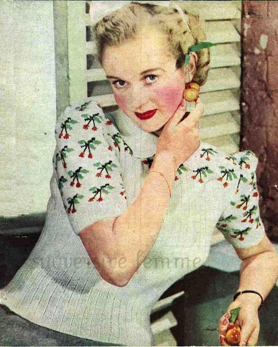 1940s Cherry Ripe Jumper c.1942, WW2 - vintage knitting pattern PDF (409)
