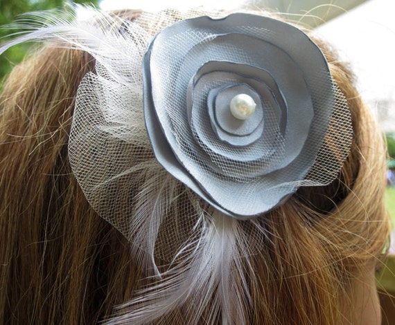 Layered Gray & White Tulle Satin Flower Hair Clip