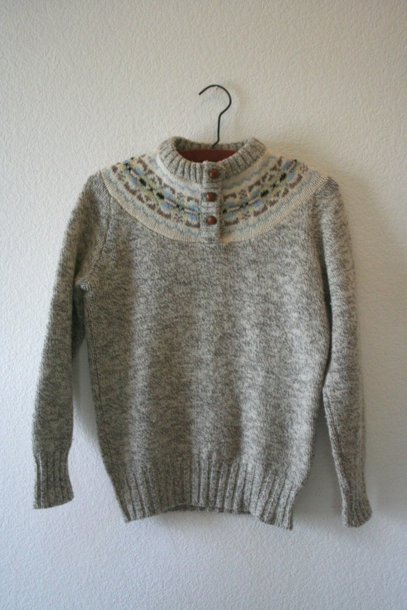 vintage wool sweater with big brown buttons