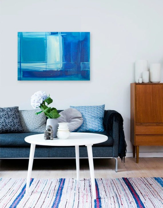 BiMiNi ROAD - original abstract modern painting - gallery fine art - contemporary interior design - ooak home wall decor - blue