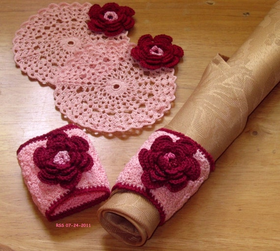 3D Burgundy Roses on Pink - Coaster & Napkin Ring Set, Flower Decor, Romantic, Thread Crochet Art