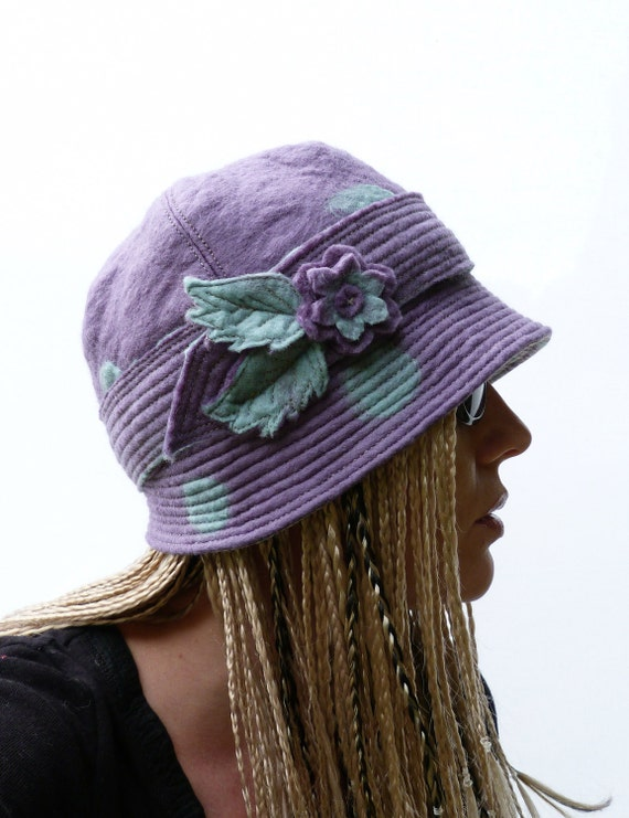 Womens Hat - OOAK Cloche Hat Collaboration - 'Miss Polly', Felt Hat