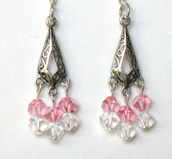 Crystal  and Sterling Silver Chandelier Earrings With Pink Swarovski Elements