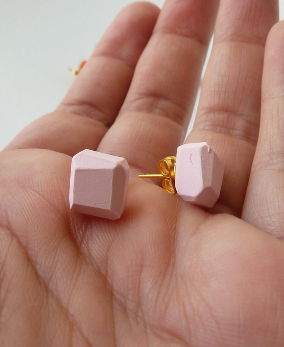 pink geo earrings