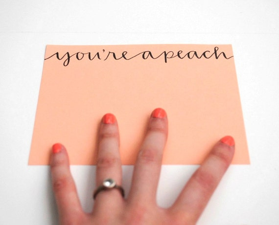 You're A Peach Flat Notecards in Peach - Set of 9