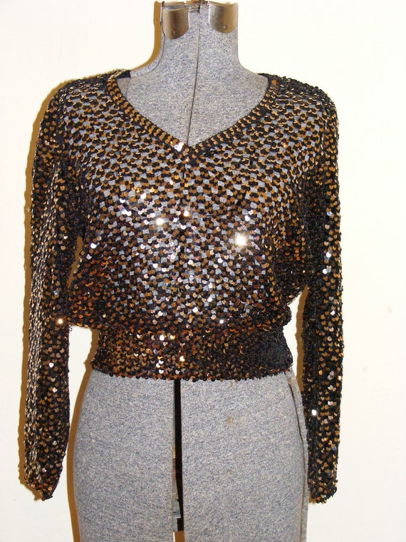 80's Fishnet Knit Sweater with Sequins