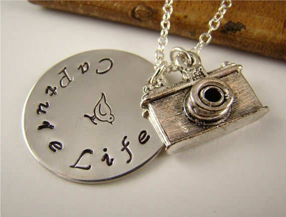 Camera Pendant Necklace, Camera Charm, Silver Charms, Photography, Stamped Jewelry, Personalized Jewelry, Capture Life