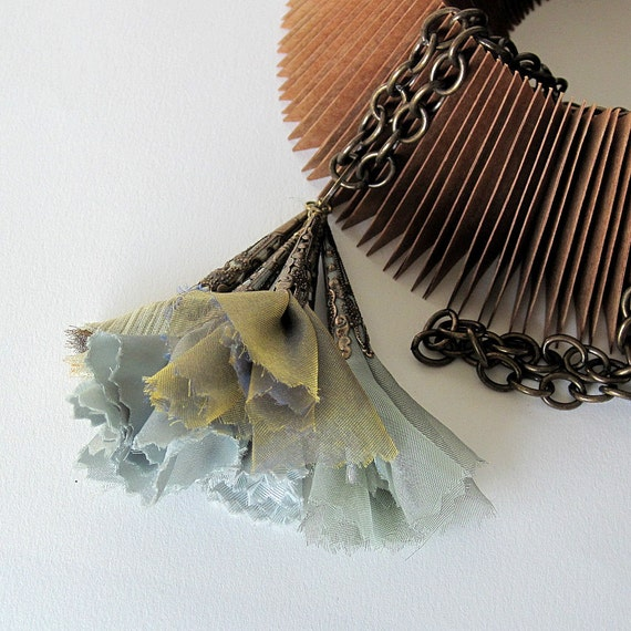fabric necklace, textile necklace, romantic necklace,  fall fashion, pastel greens, orchid hush and quarry