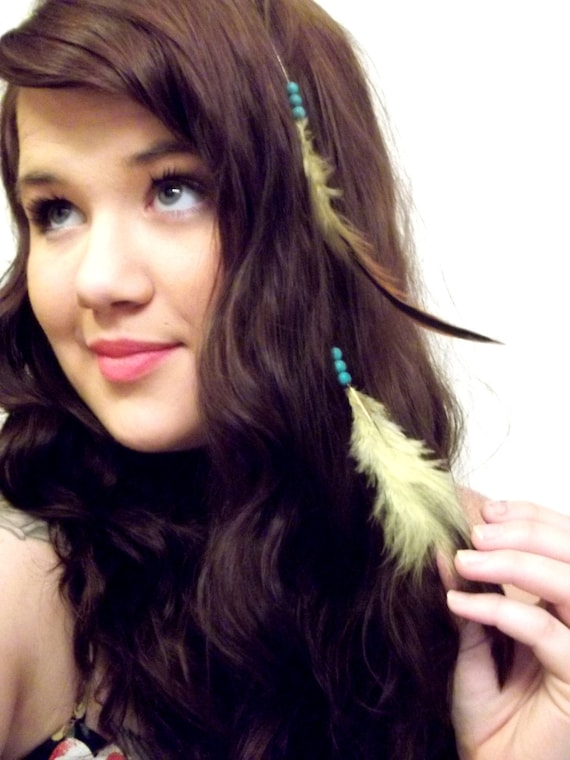 Lovely Turquoise Beaded Yellow Floating Feather Hair Extension
