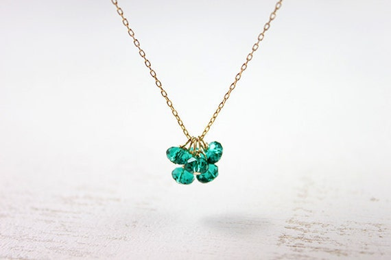 Green Crystal Necklace - Cluster emerald swarovski 14k gold filled jewelry by petitor