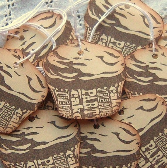 Chocolate Cupcake Shaped Hang Tags - Hand Stamped - Manila Cream, Brown, Subway Art Inspired