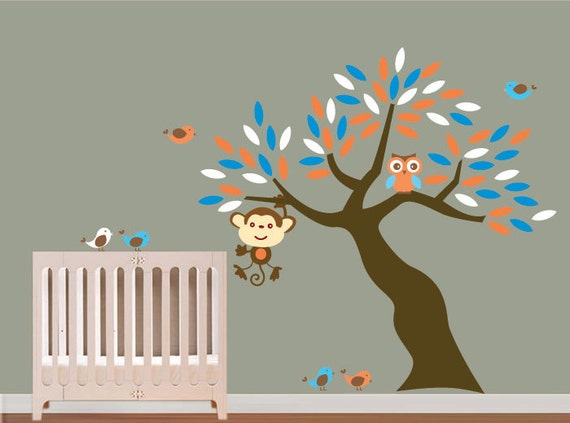 Boys Vinyl Wall Art Tree Decals - Nursery -Birds Owls Monkey