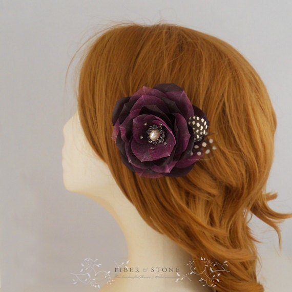 Deep Purple Bridal Fascinator Eggplant Wedding Head Piece Bridal Special