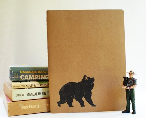 Exploring Bear Notebook - Large Moleskine Journal using Hand Carved Design