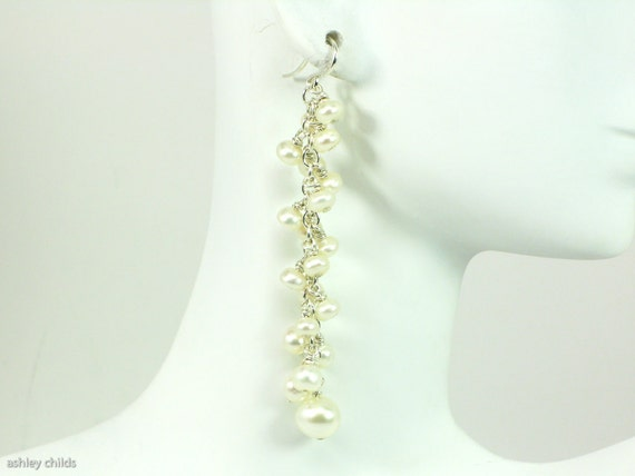 Pearl & Argentium Silver Earrings, AC8144