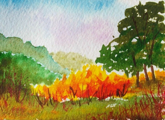 Original ACEO WaterColor painting Autumn Landscape 5