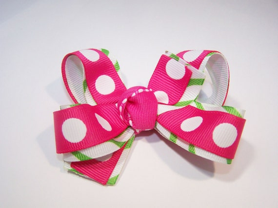 Polka Dot Pink and Green Boutique Bow