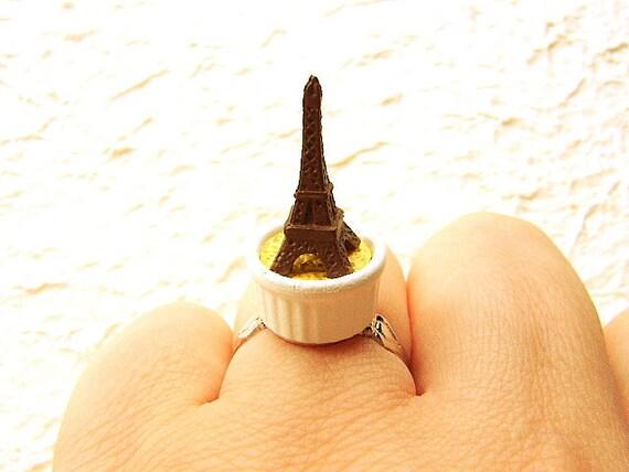 Симпатичный Kawaii Японская кухня кольцо крем карамель Эйфелевой башни