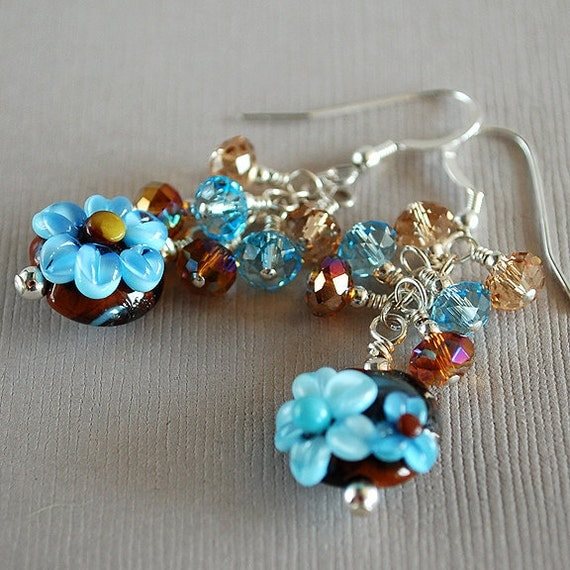 Blue Bells No. 1 Lampwork, Crystal and Sterling Earrings - Black Friday Etsy - Cyber Monday Etsy - TURKEY20 coupon code