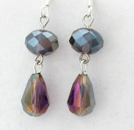 Iridescent Purple Earings, Teardrop Beads, Rondelle Beads
