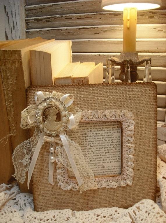 ПОСЛЕДНЯЯ Vintage Вдохновленный Барлеп / Камея Украшенные Picture Frame