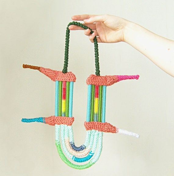 fiber necklace - spiked and studded - in seafoam green/salmon pink/aqua blue