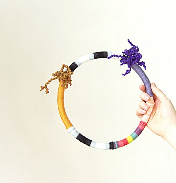 textile necklace - geometric - rainbow / yellow / gold / stripes