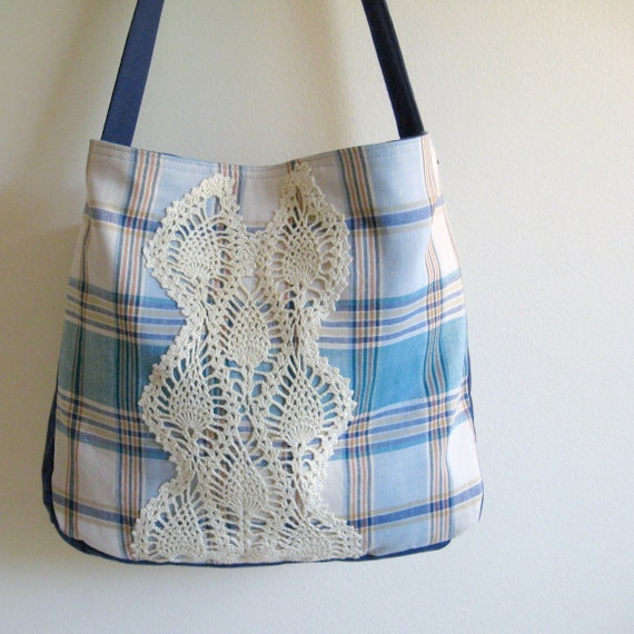 25% OFF SALE - plaid messenger book bag