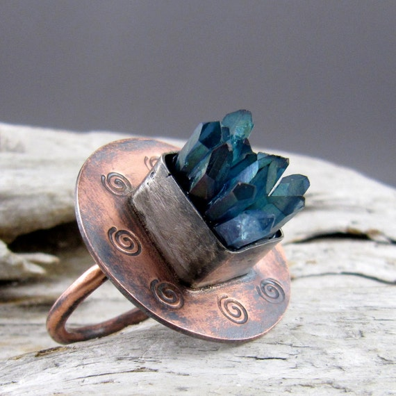 Aqua Aura Quartz Points Spiral Design Copper with Fine Silver Ring