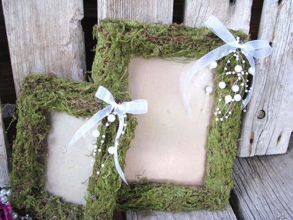 Rustic Cottage Chic Vintage Woodland Wedding Picture Frame DUO 8x10