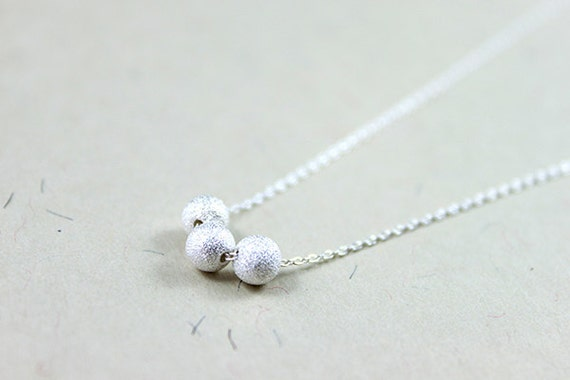 Sterling Silver Beads Necklace - round stardust dots delicate everyday jewelry by petitor