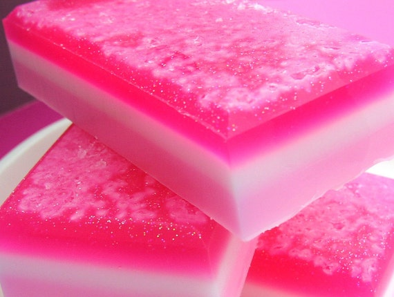 Soap - Pink Sugar Princess Salt Bar Soap - Valentines Day Soap
