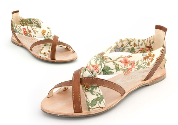 Leather and textile handmade floral sandals by Cholesburys