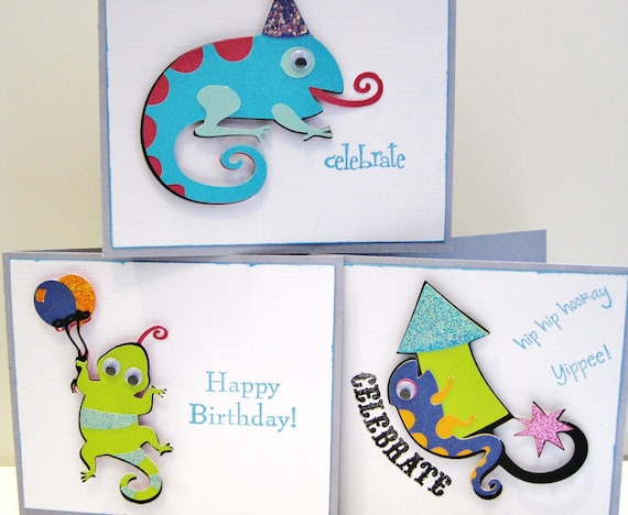 Lizards and Geckos Birthday Celebrations Hand Cut Cards Set of (3)