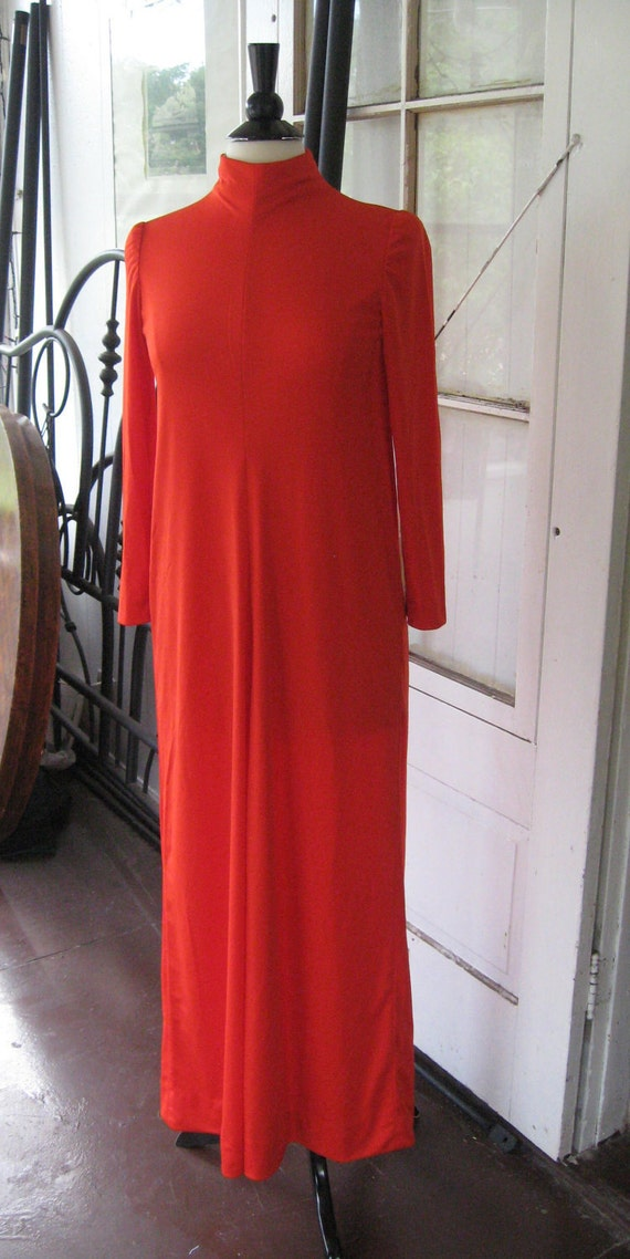 Vintage Designer Lilli Diamond 1970s Coral Qiana Nylon Evening Gown Sz Med with tag