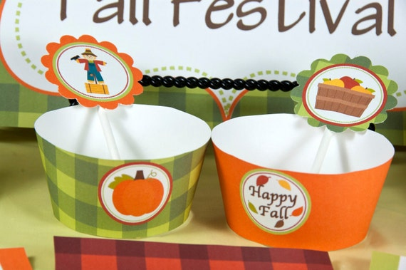 Custom, Printable Fall Festival 2 Inch Party Circles for Cupcake Toppers, Favor Tags, or Decorative Circles
