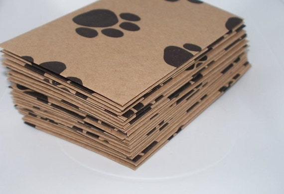 Pawprints- 24 Mini (Business Card Size) Envelopes