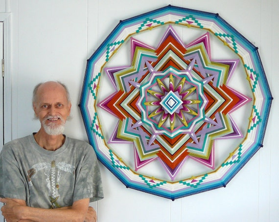 Springtime, a 36 inch, all wool yarn, 12-sided Ojo de Dios