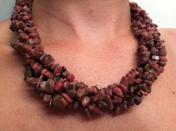 Five Strand Dusty Rose and Smoke Rhodonite Necklace
