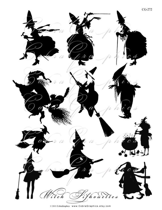 HALLOWEEN Witch Silhouettes - Digital Collage Sheet CG-272 for Scrapbooking Gift Cards Hang Tags Magnets Stickers PNG