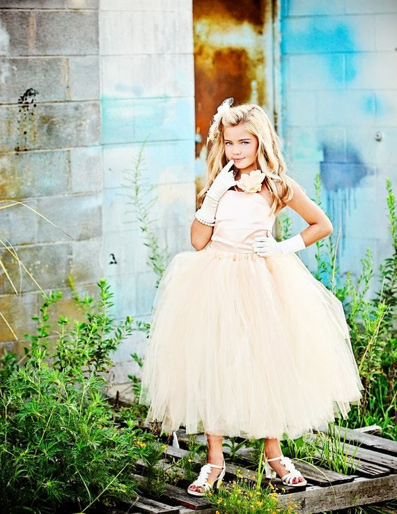 Satin Flower Girl  Dress-Tutu and Top Outfit in Peach and Cream-----Top and Tutu-----Perfect for Weddings or Portraits-----Afternoon Tea