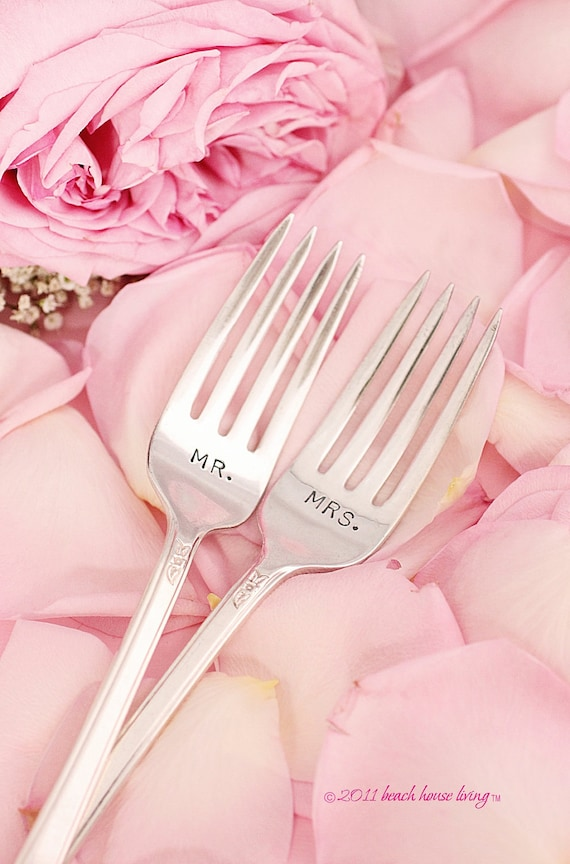 Mr and Mrs. Forks 1949 Spring Charm  Wedding Silverware hand stamped vintage flatware