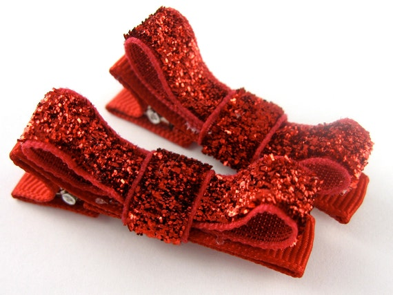 Christmas Hair Bows - Glitter Hair Clips - Little Tuxedo Hair Bows Matching pair Alligator Clips