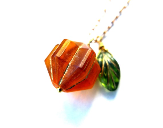 Carved Pumpkin Necklace -  Halloween Jewelry, Gold, Orange, Green