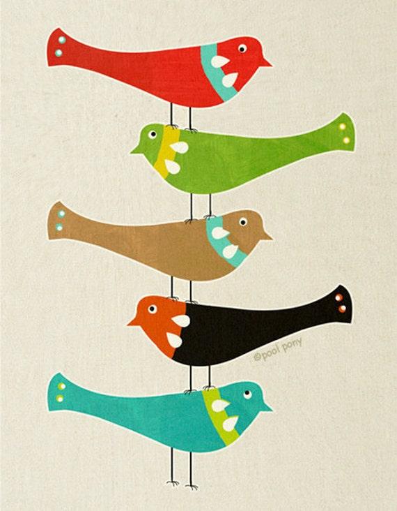 bird stack - mid century design fine art print